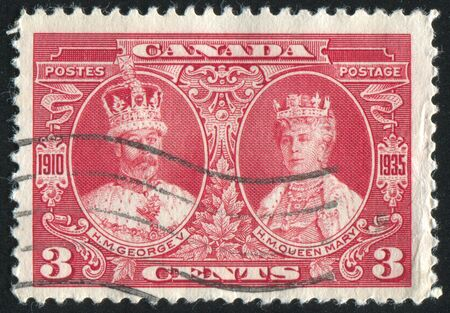 CANADA - CIRCA 1935: stamp printed by Canada, shows King George V and Queen Mary, circa 1935