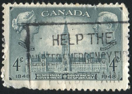 CANADA - CIRCA 1948: stamp printed by Canada, shows Parliament Buildings Ottawa, circa 1948