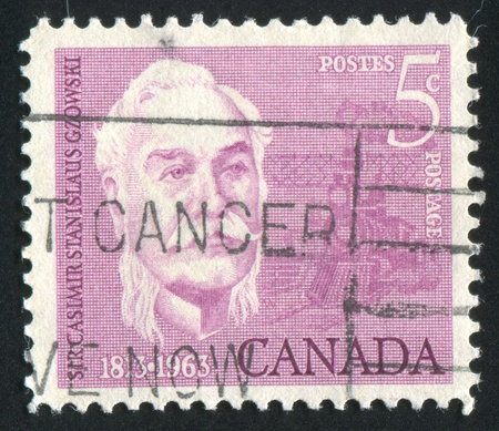casimir: CANADA - CIRCA 1963: stamp printed by Canada, shows Sir Casimir Stanislaus Gzowski (1813- 98), Engineer, Soldier and Educator, circa 1963