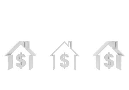 High resolution image. 3d rendered illustration. Three houses and dollar symbol. illustration