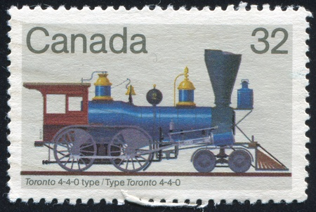 CANADA - CIRCA 1999: stamp printed by Canada, shows locomotive, circa 1999 Stock Photo - 9834410