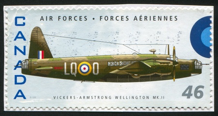 vickers: CANADA - CIRCA 1999: stamp printed by Canada, shows aeroplane, Vickers Armstrong Wellington MKII, circa 1999