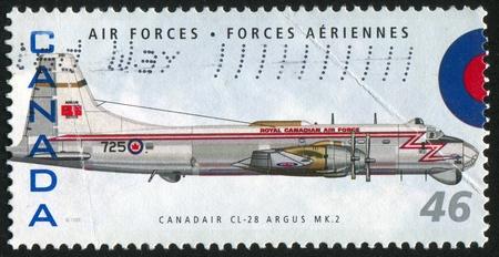 mk: CANADA - CIRCA 1999: stamp printed by Canada, shows aeroplane, Canadair CL-28 Argus MK 2, circa 1999