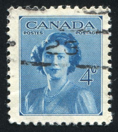 timbre postal: Canadá - alrededor de 1948: Sello impreso por Canadá, muestra la princesa Isabel, alrededor de 1948 Editorial
