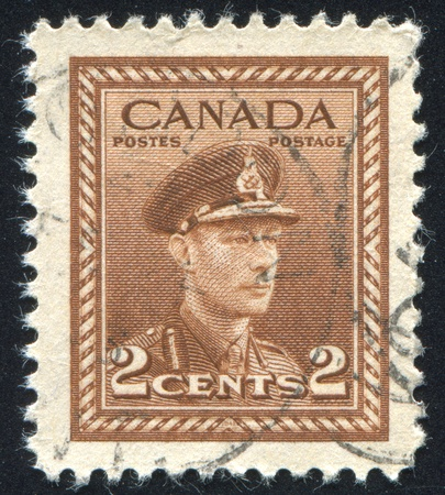 CANADA - CIRCA 1942: stamp printed by Canada, shows King George VI, circa 1942 Stock Photo - 9834357