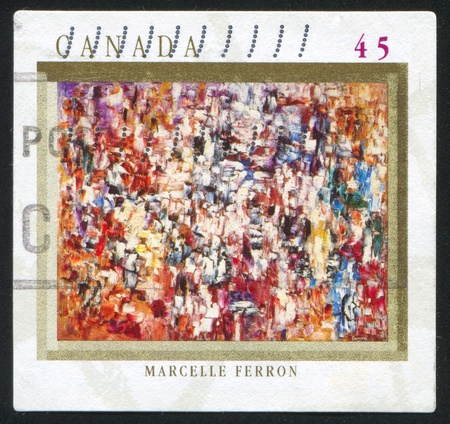 "marcelle: CANADA - CIRCA 1998: stamp printed by Canada, shows ""Syndicat des gens de mer,"" Marcelle Ferron, circa 1998 Stock Photo"