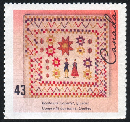 coverlet: CANADA - CIRCA 1993: stamp printed by Canada, shows Boutonne coverlet, Quebec, circa 1993
