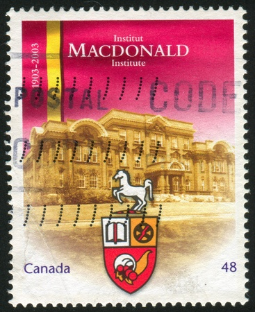 macdonald: CANADA - CIRCA 2003: stamp printed by Canada, shows Macdonald Institute, Guelph, Ont., cent, circa 2003 Stock Photo
