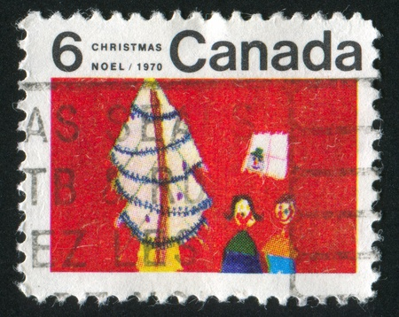 window seal: CANADA - CIRCA 1970: stamp printed by Canada, shows Christmas Tree and Children, circa 1970 Stock Photo