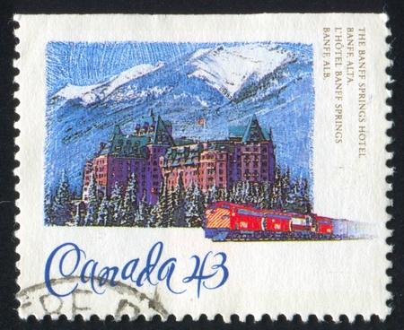 CANADA - CIRCA 1993: stamp printed by Canada, shows Banff Springs hotel, Alberta, circa 1993 photo