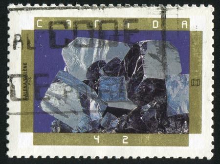 octahedral: CANADA - CIRCA 1992: stamp printed by Canada, shows Minerals, Galena, circa 1992