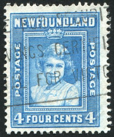 NEWFAUNDLAND  - CIRCA 1938: stamp printed by Newfoundland, shows Princess Elizabeth, circa 1938 Stock Photo - 9834454