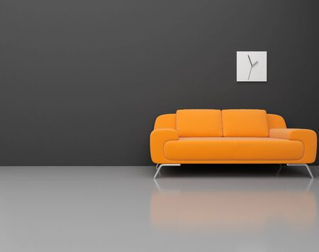 living room wall: High resolution image. 3d rendered illustration. Interior of the modern room. Stock Photo