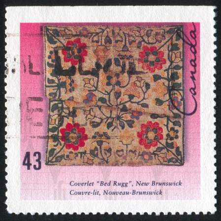 coverlet: CANADA - CIRCA 1993: stamp printed by Canada, shows Coverlet, New Brunswick, circa 1993