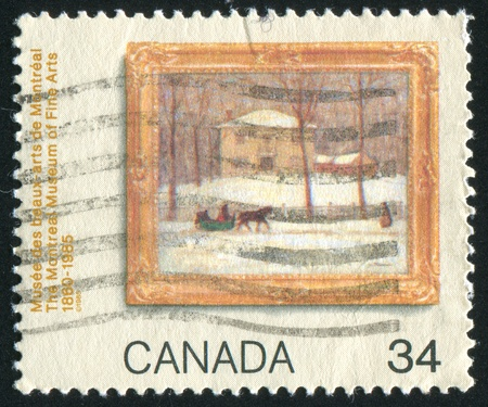 horse pipes: CANADA - CIRCA 1985: stamp printed by Canada, shows Old Holton House, Sherbrooke Street, Montreal, by James Wilson Morrice (1865-1924), circa 1985 Stock Photo
