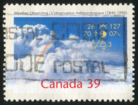 observations: CANADA - CIRCA 1990: stamp printed by Canada, shows Weather Observations in Canada, 150th Anniv., circa 1990