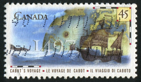CANADA - CIRCA 1997: stamp printed by Canada, shows John Cabot's Voyage to Canada, 500th Anniv., circa 1997 Stock Photo - 9957977