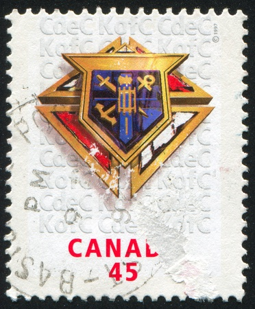 canada stamp: CANADA - CIRCA 1997: stamp printed by Canada, shows Knights of Columbus in Canada, circa 1997