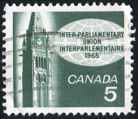 ottawa: CANADA - CIRCA 1965: stamp printed by Canada, shows Peace Tower, Ottawa, circa 1965 Stock Photo