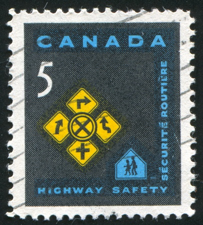 CANADA - CIRCA 1966: stamp printed by Canada, shows Traffic Signs, circa 1966 Stock Photo - 9957645