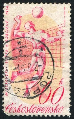 CZECHOSLOVAKIA - CIRCA 1966: stamp printed by Czechoslovakia, shows volleyball, circa 1966 photo