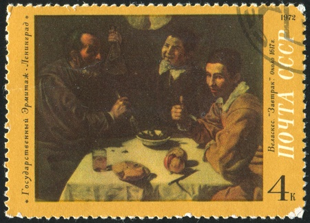 velazquez: RUSSIA - CIRCA 1972: stamp printed by Russia, shows Breakfast, Velazquez, circa 1972
