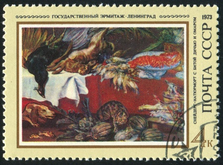 frans: RUSSIA - CIRCA 1973: stamp printed by Russia, shows Still Life, by Frans Snyders, circa 1973