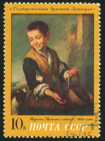 murillo: RUSSIA - CIRCA 1972: stamp printed by Russia, shows Boy with Dog, by Murillo, circa 1972 Editorial