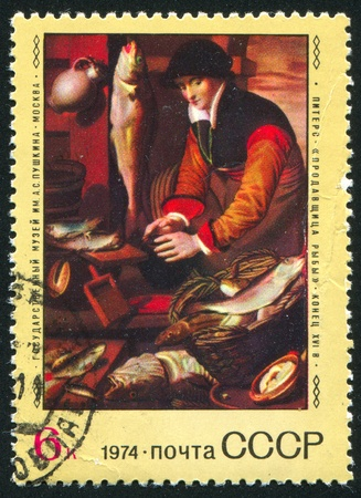 RUSSIA - CIRCA 1974: stamp printed by Russia, shows The Fishmonger, by Pieters, circa 1974 photo
