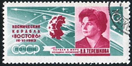 tereshkova: RUSSIA - CIRCA 1963: timbro stampato dalla Russia, mostra Valentina Tereshkova, circa 1963 Editoriali