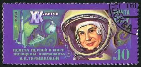 tereshkova: RUSSIA - CIRCA 1983: timbro stampato dalla Russia, mostra Valentina Tereshkova di Spaceflight, Anniv 20, circa 1983.