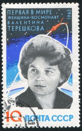 tereshkova: RUSSIA - CIRCA 1963: stamp printed by Russia, shows  Valentina Tereshkova, circa 1963 Editorial