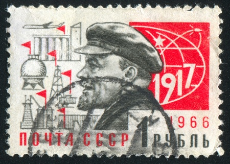 RUSSIA - CIRCA 1966: stamp printed by Russia, shows Lenin and industrial symbols, circa 1966
