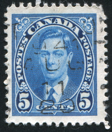 CANADA - CIRCA 1937: stamp printed by Canada, shows George VI, Tree Cents, circa 1937 Stock Photo - 9981406