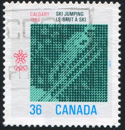 CANADA - CIRCA 1988: stamp printed by Canada, shows Southwestern Alberta, Computer Design Ski Jumping, circa 1988
