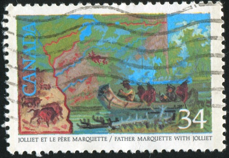 CANADA - CIRCA 1986: stamp printed by Canada, shows Louis Jolliet, Jacques Marquette discovering the Mississippi River, 1673, circa 1986 Stock Photo - 9981060