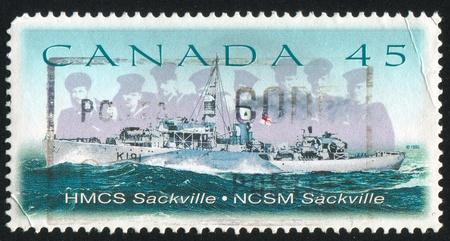 CANADA - CIRCA 1998: stamp printed by Canada, shows HMCS Sackville, circa 1998 photo