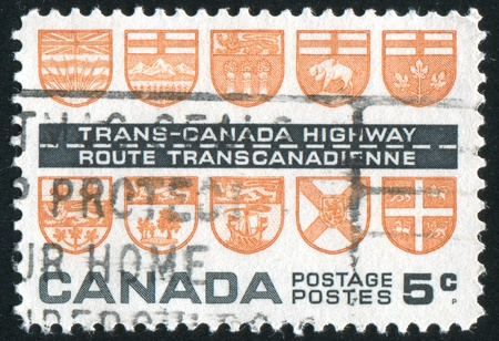 CANADA - CIRCA 1962: stamp printed by Canada, shows Arms of the Provinces, circa 1962 Stock Photo - 9981272