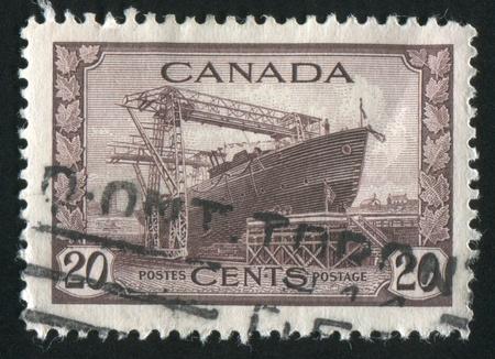 CANADA - CIRCA 1942: stamp printed by Canada, shows Corvette, circa 1942 photo