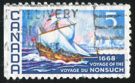 shrouds: CANADA - CIRCA 1968: stamp printed by Canada, shows The Nonsuch, circa 1968 Stock Photo