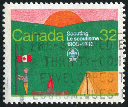scouting: CANADA - CIRCA 1983: stamp printed by Canada, shows Scouting Year, circa 1983 Stock Photo