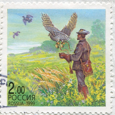raptor: RUSSIA - CIRCA 1999: stamp printed by Russia, shows Releasing raptor, circa 1999