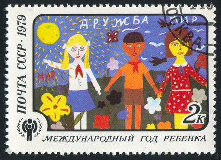 RUSSIA - CIRCA 1979: stamp printed by Russia, shows Childrens Drawings, Friendship, circa 1979 photo