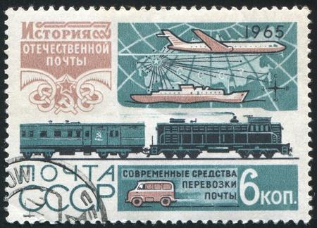 RUSSIA - CIRCA 1965: stamp printed by Russia, shows Train, ship and plane, circa 1965 photo