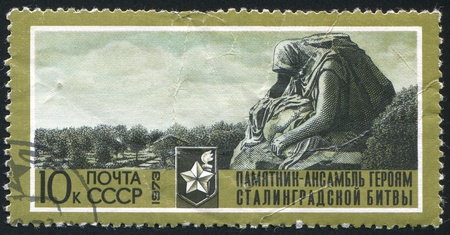 RUSSIA - CIRCA 1973: stamp printed by Russia, shows Mourning mother and child, circa 1973 photo
