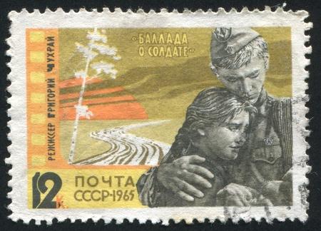 ballad: RUSSIA - CIRCA 1965: stamp printed by Russia, shows Film Scenes: Ballad of a Soldier, circa 1965 Editorial