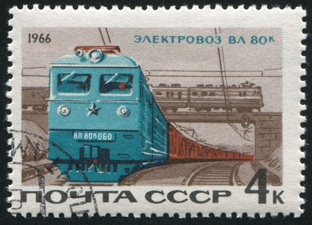 RUSSIA - CIRCA 1966: stamp printed by Russia, shows locomotive, circa 1966 photo