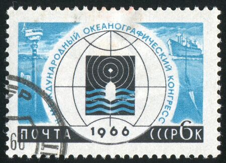 oceanographic: RUSSIA - CIRCA 1966: stamp printed by Russia, shows Congress Emblems, Oceanographic instruments and ship, circa 1966