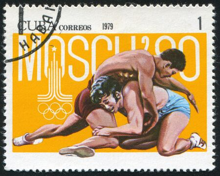 greco roman: CUBA - CIRCA 1979: stamp printed by Cuba, shows Summer Olympics, Wrestling, circa 1979 Editorial