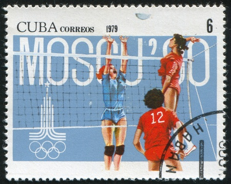 summer olympics: CUBA - CIRCA 1979: stamp printed by Cuba, shows Summer Olympics, Womens volleyball, circa 1979 Editorial
